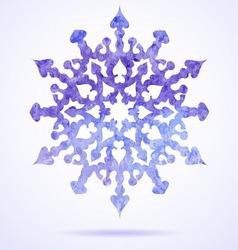 Watercolor blue painted Christmas snowflake vector image