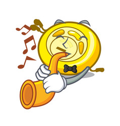 With trumpet cd player mascot cartoon vector