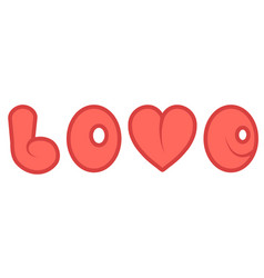 word love with a red cartoon heart comic vector image