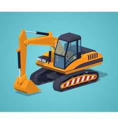 Yellow excavator Special machinery vector image