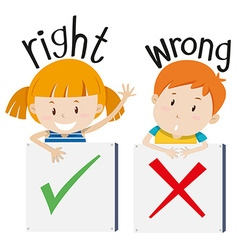 Boy with wrong sign and girl with right sign vector image