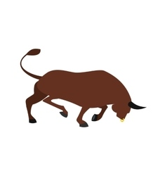 Brown bull icon flat style vector image vector image