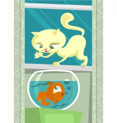 cartoon cat hunting fish vector image vector image