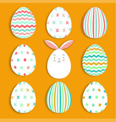 easter eggs set collection and bunny on orange vector image vector image