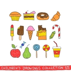 Kids hand drawing tasty food vector image vector image
