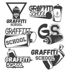 set of graffiti school labels in vintage vector image vector image