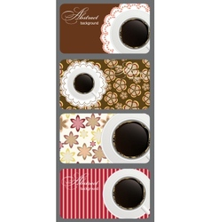 Set of nature coffee gift cards vector image vector image