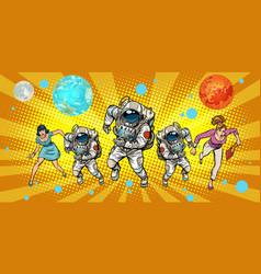 women and astronauts running around the universe vector image