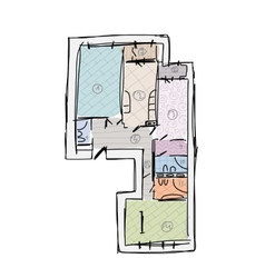 Apartment plan without furniture sketch for your vector image