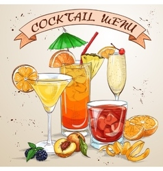 Contemporary Classics Cocktail menu vector image