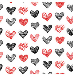 doodle hand drawn valentine heart seamless pattern vector image vector image