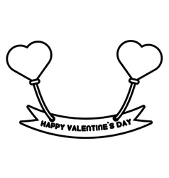 happy valentine day card balloons heart outline vector image vector image