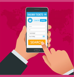 railway tickets booking online app phone concept vector image
