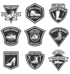 set of shoe repair emblems isolated on white vector image vector image