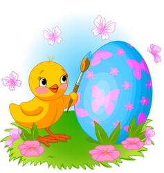 chicken painting Easter egg vector image vector image