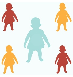 Colored children silhouettes vector image
