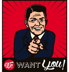 I want you retro businessman with pointing finger vector image vector image
