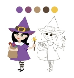 little witch costume vector image vector image