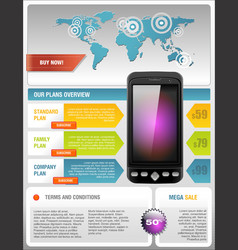 Mobile Cell Smart Phone Telecom Provider Flyer vector image vector image