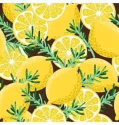 Seamless lemon and rosemary vector image