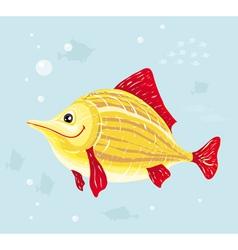 smiling cartoon fish vector image vector image