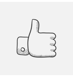 Thumbs up sketch icon vector image