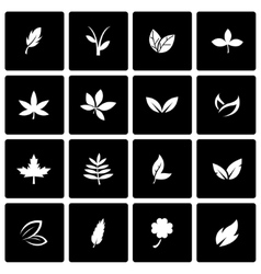 black leaf icon set vector image vector image