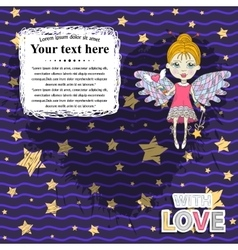 Card design with fairy vector image vector image