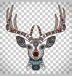 colorful deer head with ethnic ornament vector image
