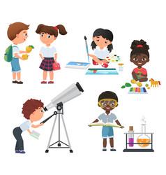 cute pupils activity in school set little vector image vector image