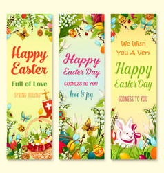 easter day greetings banner with holiday symbols vector image vector image