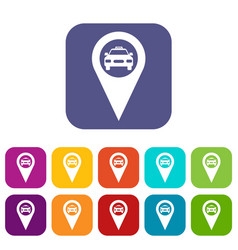 Geo taxi icons set vector