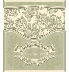 Invitation or Frame in Decorative floral backgroun vector image vector image
