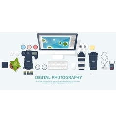 Photographer equipment on a table Photography vector image vector image