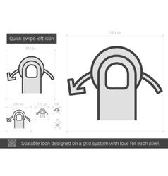 Quick swipe left line icon vector image vector image