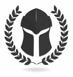 spartan helmet silhouette with laurel wreath vector image