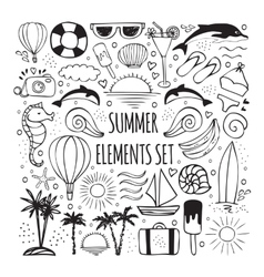 Summer hand drawn set of elements for logos design vector image