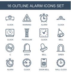 16 alarm icons vector