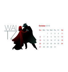 2019 dance calendar october little red riding vector image