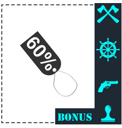 60 percent discount icon flat vector image