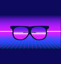 80s style poster perspective grid with neon horiz vector image