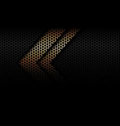 Abstract golden arrow shadow black hexagon mesh vector