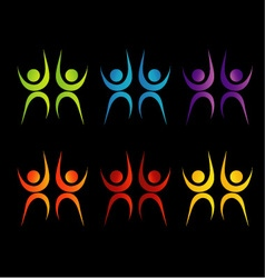 Abstract people- colorful people isolated logos vector