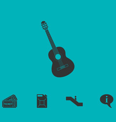 Acoustic guitar icon flat vector