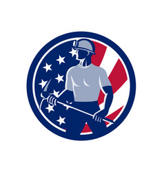 American coal miner usa flag icon vector