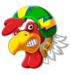 Angry rooster wearing helmet racer vector