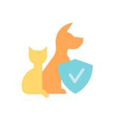 Animal protection and care flat color icon vector