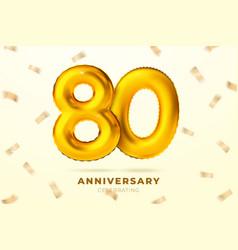 anniversary golden balloons number 80 vector image