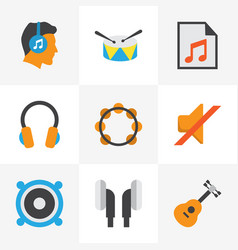 audio flat icons set collection of media rhythm vector image