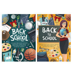 Back to school posters with teacher and stationery vector